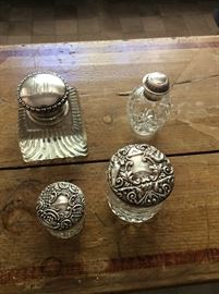 sterling inkwell and dresser jars