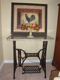 Antique Singer Sewing Machine Treadle Table  w/ Granite Top...(coffee bar)