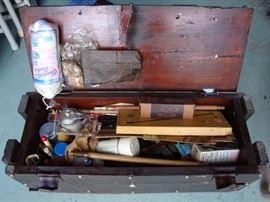 Gun Cleaning Supplies w/ Vintage Wood Box