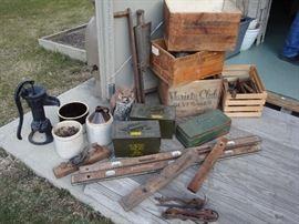 Fun Vintage Finds! Cast Iron Hand Well Pump, Crocks, Antique Levels, Antique Ice Skates, Amo Boxes, Vintage Wood Working Tools, Primitive Corn Planter, Vintage Wood Boxes, Vintage Tackle Box