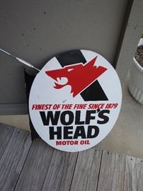 Wolf's Head Motor Oil (2) Sided Sign