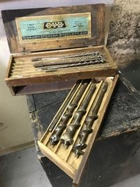 Drill bits in wooden caring case