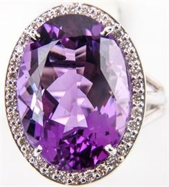 Lot 390 - Jewelry 18kt White Gold Amethyst Cocktail Ring