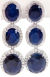 Lot 395 - Jewelry 14k White Gold Sapphire & Diamond Earrings