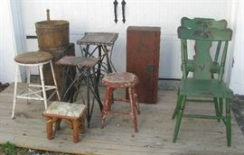 Variety of chairs, stools, etc