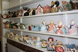 Teapots, teapots, and more teapots.  This photo shows only about half of them.