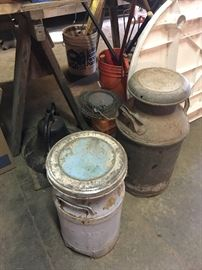 SEVERAL OLD MILK CANS