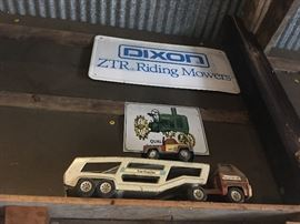 OLD TOY TRUCKS & JOHN DEERE & DIXON SIGNS