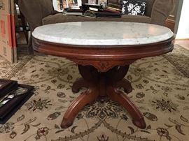 Antique marble top end/side/coffee table