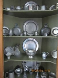 The pewter pieces in this collection include pieces from Sheffield England, Steif, Stede and hand made pieces.