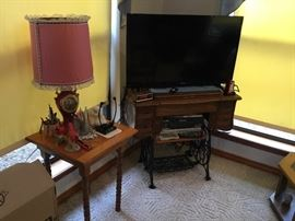 Treadle Case Re-Purposed as TV Stand