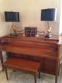 Acrosonic piano - great condition; matching eagle lamps