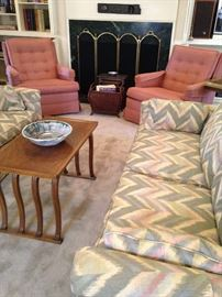 One of two matching 3-cushion sofas; matching club chairs