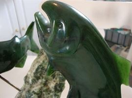 Close up of Lyle Sopel Sculpture, Nephrite Jade Fish,..... Stunning in Person
