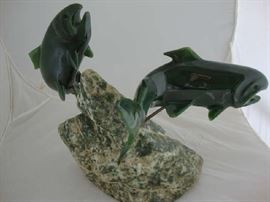 Lyle Sopel Nephrite Jade Fish Sculpture