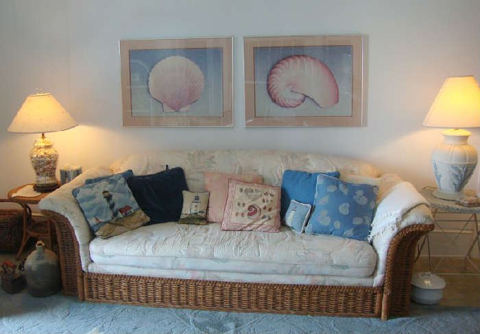 Rattan Sofa, Large Shell Prints, Wicker End Tables