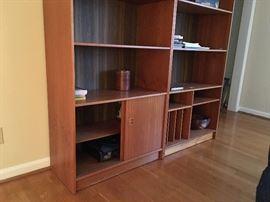 Wood shelf for books and curios, contemporary