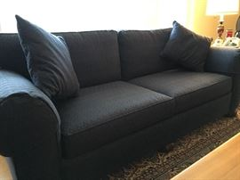 Transitional sofa with cushions. Dark blue. Very comfortable.