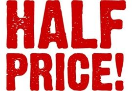Half price day! Today only and we're gone! Most things half others reduced in RED...11:00-3:00. Come see us!!