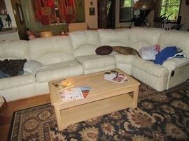leather sectional-sofa bed on left side, two recliners, 4 pieces total