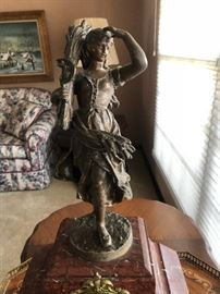 French Bronzed Spelter Figural Mantle Clock Buy it NOW!!! $600  Written Offers Accepted at Sale