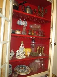 Porcelain figurines, pottery dishes, Waterford Crystal, barware