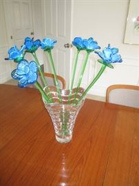 Glass Vase with art glass flowers