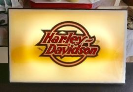 Lighted Harley Davidson sign