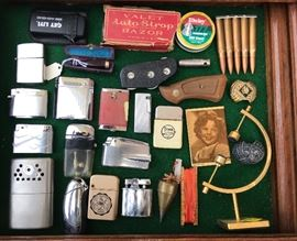 Lots vintage Ronson/Zippo/Scripto/Schick/Other lighters/1950s shirley Temple mirror/Plump bob/pistol handles