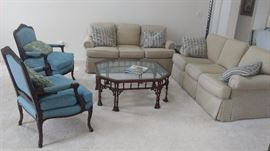 2 blue side chairs with 2 matching Sheryll sofas excellent condition, ornate glass top coffee table