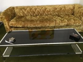 Retro Crushed Velvet Diamond Stitched Couch (Excellent Condition!), Smoke Glass & Chrome Coffee Table & More