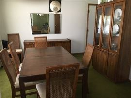 Gorgeous MCM Dining Room Set (Table, Six Chairs, Server & Diminutive China Cabinet) & More