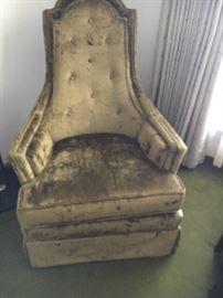 Vintage Crushed Velvet High Back Hollywood Regency Chair