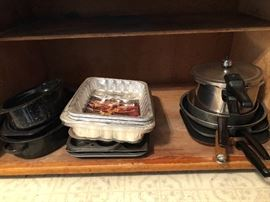 Griddles, Enamelware, Pressure cooker, muffin tins