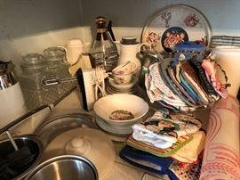 Canisters, Hot pads, Hand mixers, Hot pots, misc kitchenware