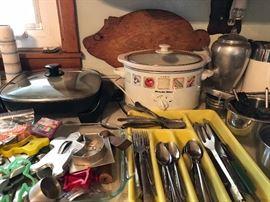 Crock pot, Pig Wood cutting board, Silverware, Presto fry pan, Vintage Mirro Percolating pot