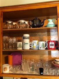 Bunny coffee pots, Tea pot, Assorted mugs, glasses and custard cups