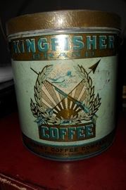 Antique King Fisher Coffee Can. Janney Coffee Company Fredericksburg,Va!