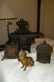 Antique Cast Iron Banks & Mini Cook Stove.