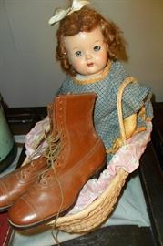 Antique Doll & Antique Ladies Boots.