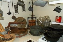 Antique Kitchen Items,Cast Iron Pans,Canning Jars,Cider Press,Etc...