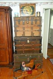 Antique Trunks,Antique Rocking Horse,Advertising Boxes & Cans, Antique Cloth Doll.
