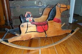 Antique Rocking Horse,Antique Cloth Doll.