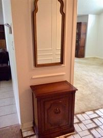 Entryway mirror and cabinet