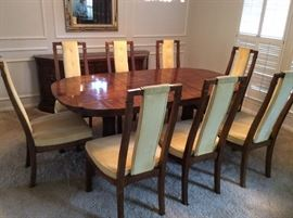 Heritage dining table with eight chairs, sleek mid century pecan finish with clear fruitwood finish