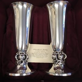 "Pair of International Sterling ""La Paglia"" Vases with Case"