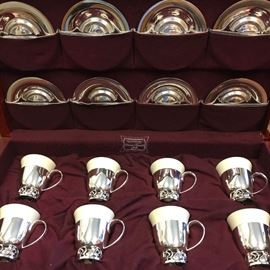 "Set of 8 International Sterling ""La Paglia"" Demitasse Cups with Saucers in Case"