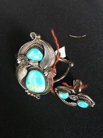 Sterling & turquoise bracelet/ ring.