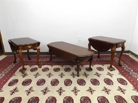 Set of Mid Century Drop Leaf Coffee Table, and 2 End Tables