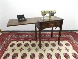 Vintage Montgomery Ward Sewing Machine in Cabinet